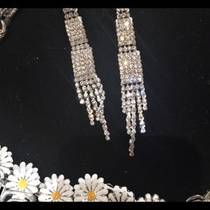Special Occassion Long Earrings Rhinestone NEW